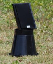 The very sophisticated speaker-on-bucket setup.